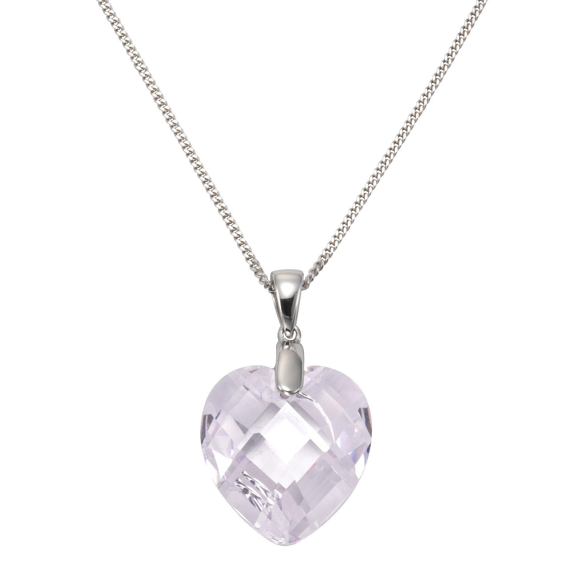 Zeeme Anhänger mit Kette »925/- Sterling Silber Zirkonia Herz« | Schmuck > Halsketten > Herzketten | Silber - Weiß | Zeeme
