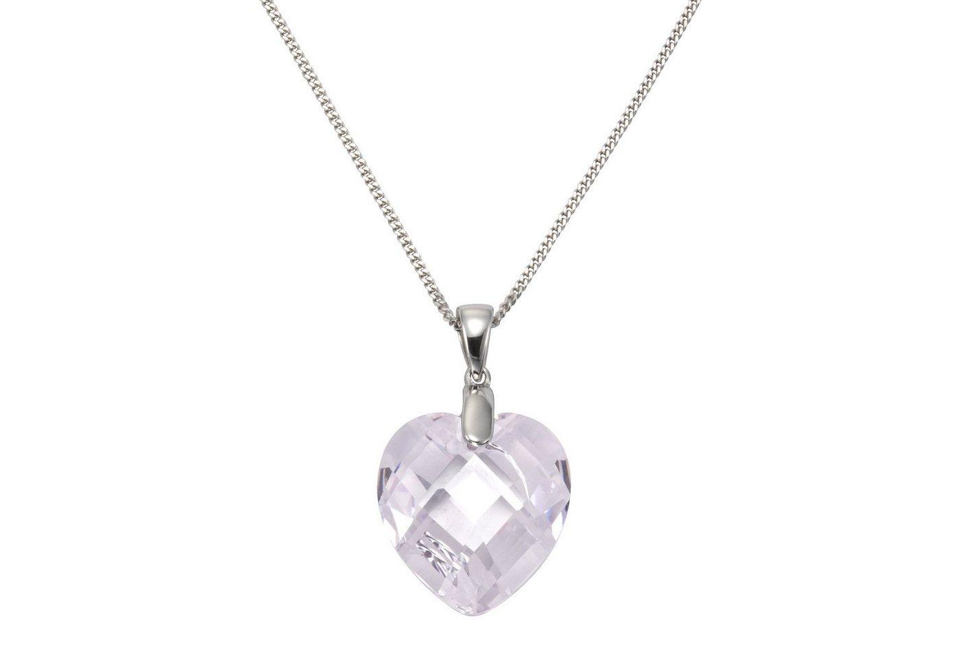 Zeeme Anhänger mit Kette »925/- Sterling Silber Zirkonia Herz« | Schmuck > Halsketten > Herzketten | Weiß | Zeeme