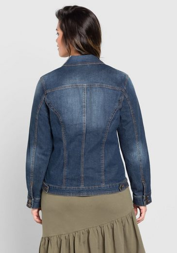 sheego Denim Jeansjacke, Used-Effekte