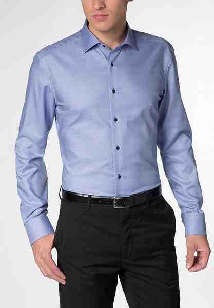 ETERNA Langarm Hemd »SLIM FIT Twill-Stretch strukturiert«
