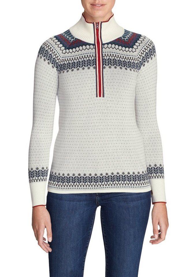 Damen Eddie Bauer  Strickpullover Engage Pullover mit 1 4-Reissverschluss – gemustert  | 04057682223001