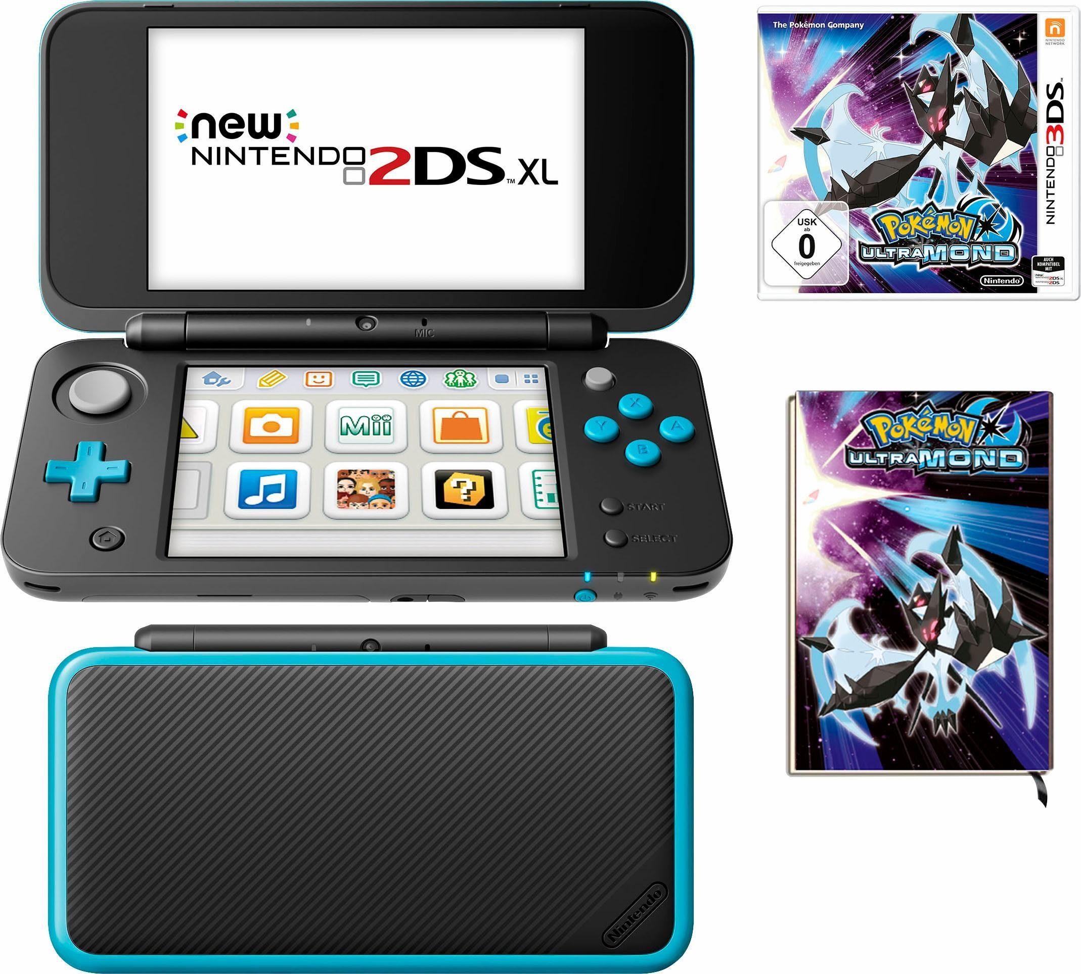 New Nintendo 2DS XL + Pokemon Ultramond + Notizbuch
