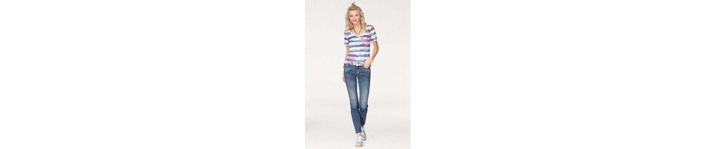 SOCCX T-Shirt, im Streifen-Look mit platziertem Druck