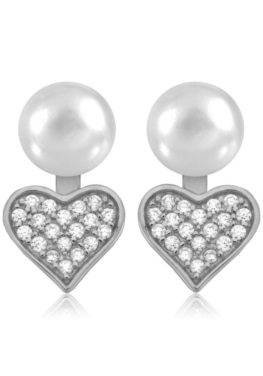 Firetti Perlenohrringe »Ear Jeackets, Herzen«, mit Süßwasserzuchtperlen und abnehmbaren Einhängern mit Zirkonia