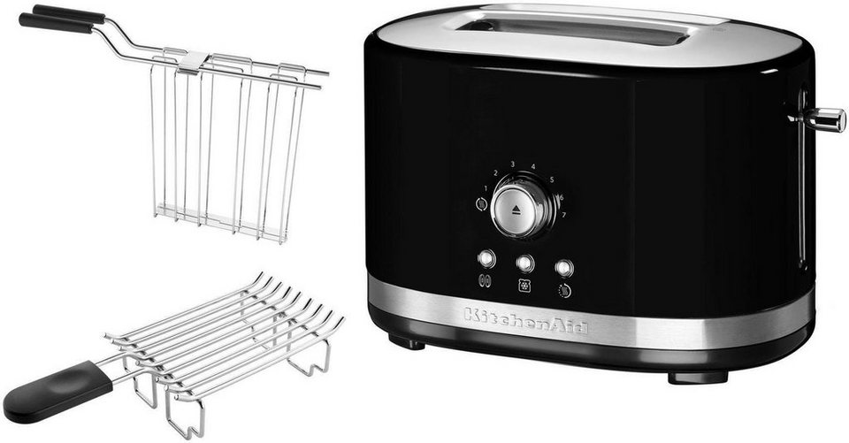 kitchenaid toaster 5kmt2116eob mit br tchenaufsatz und sandwichzange 2 kurze schlitze f r 2. Black Bedroom Furniture Sets. Home Design Ideas