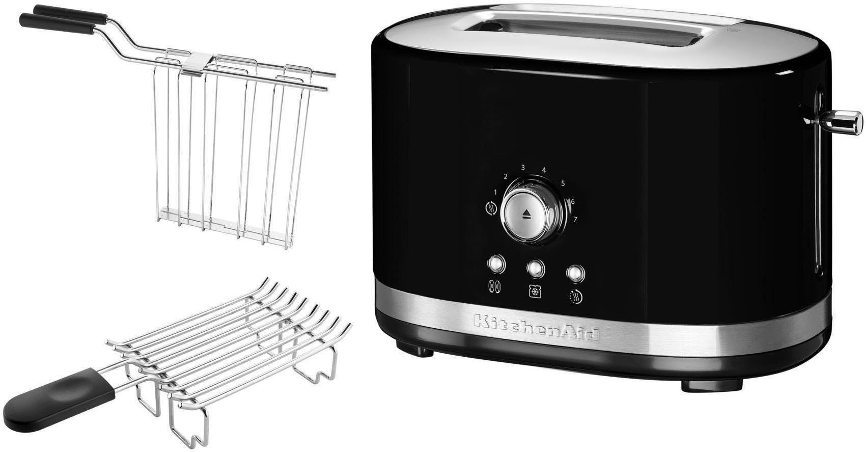 KitchenAid Toaster 5KMT2116EOB mit Brötchenaufsatz und Sandwichzange, 2 kurze Schlitze, für 2 Scheiben, 1200 W
