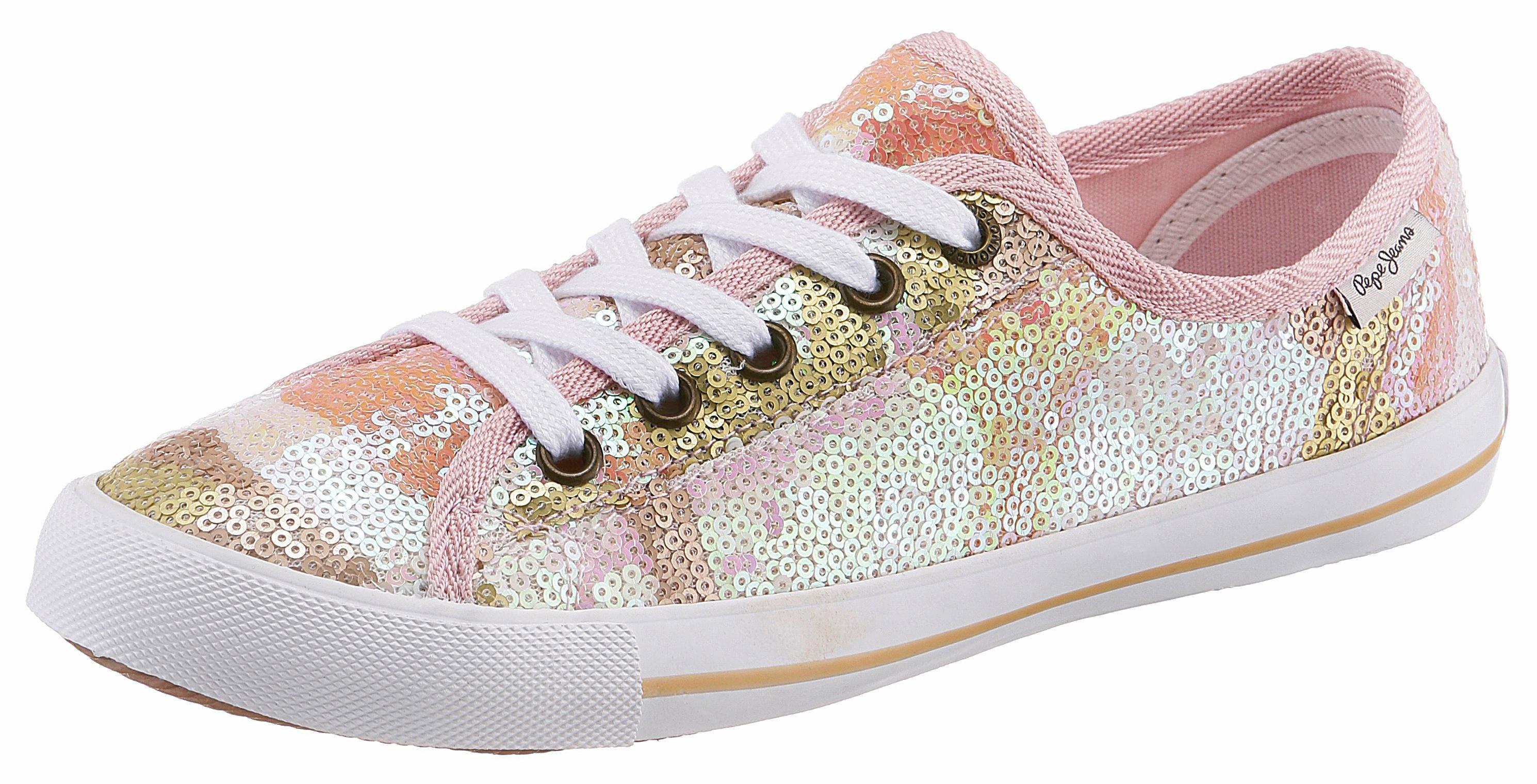 Pepe Jeans »GERY JUNGLE« Sneaker, mit Pailletten, rosa, goldfarben-rosé
