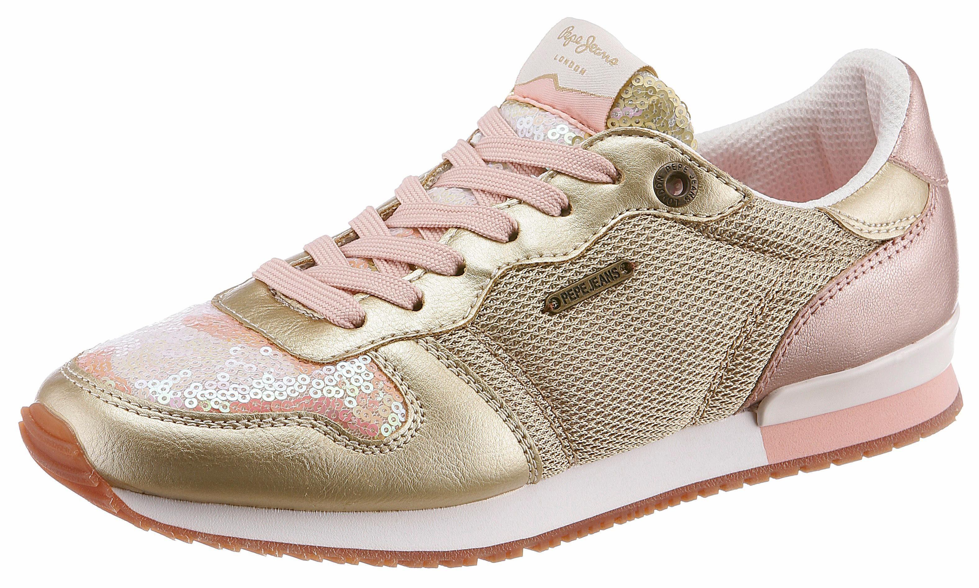 Pepe Jeans »VERONA W SEQUINS« Sneaker, mit schimmernden Pailletten, gold, 38 38