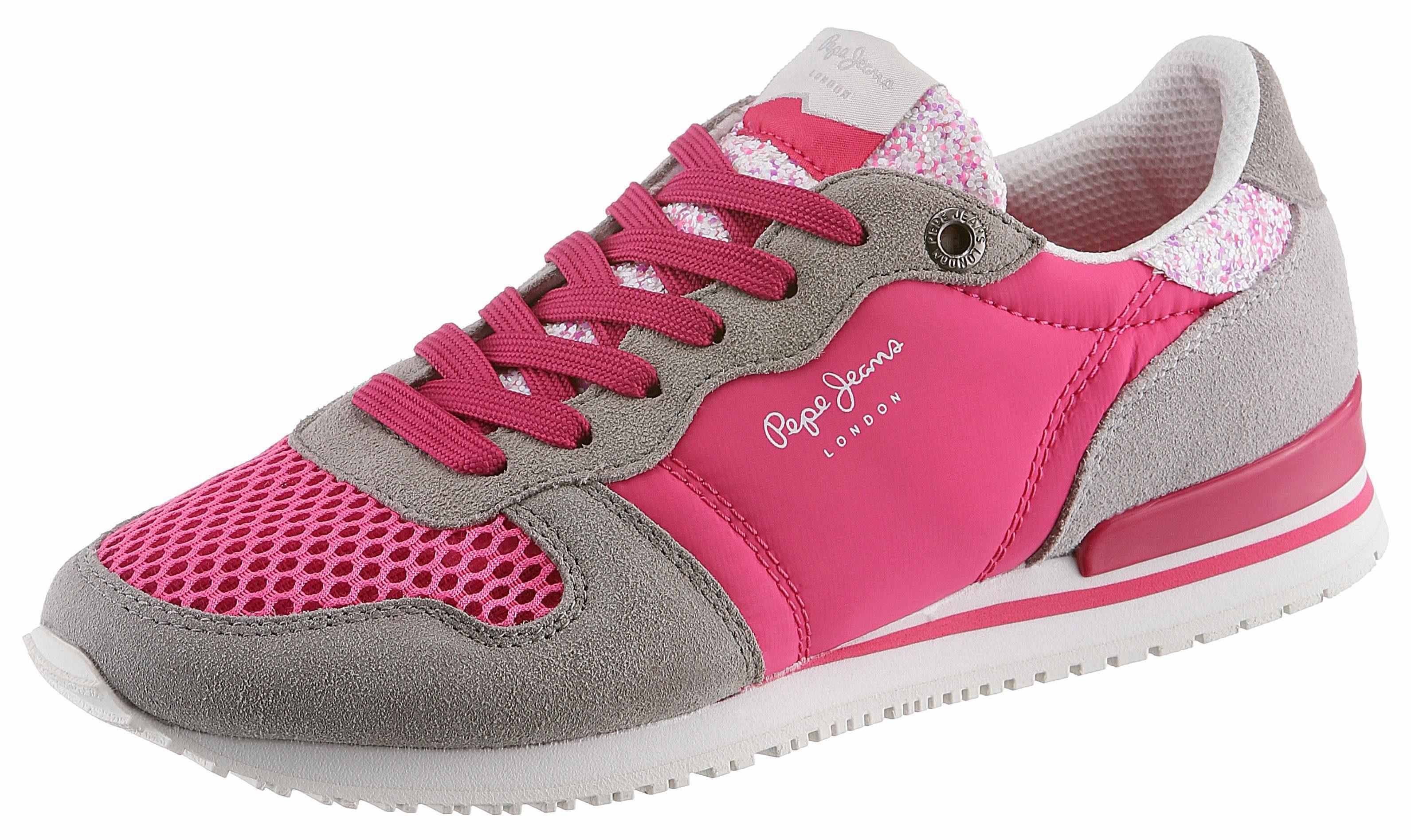 Pepe Jeans GABLE TONGUE Sneaker, mit gepolstertem Schaftrand online kaufen  pink-grau