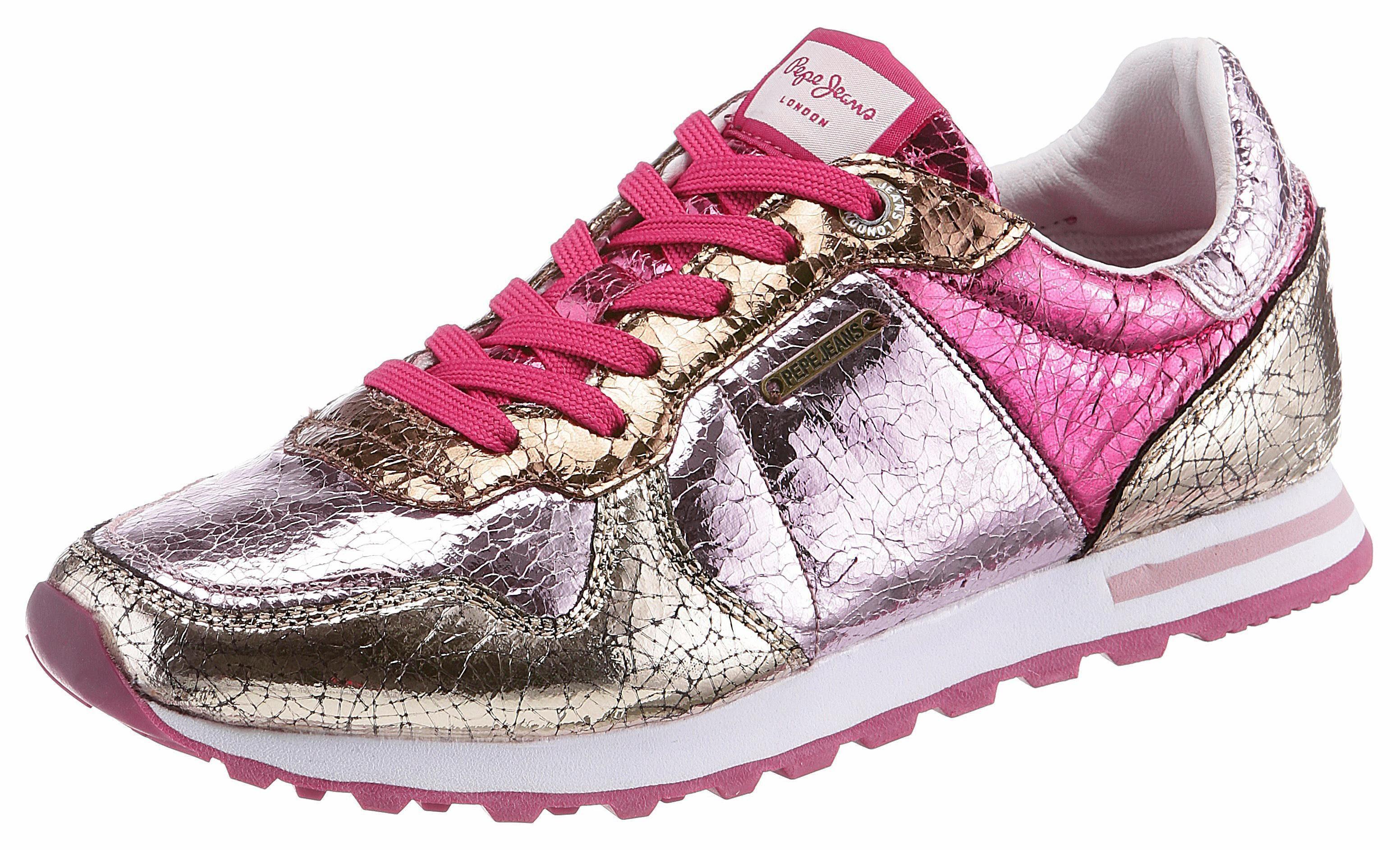 Pepe Jeans VERONA W CRACKED Sneaker, im angesagten Metallic-Look online kaufen  pink-lila-goldfarben