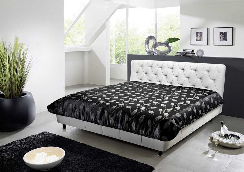 kasper wohndesign polsterbett leder wei inkl tagesdecke marsa online kaufen otto. Black Bedroom Furniture Sets. Home Design Ideas