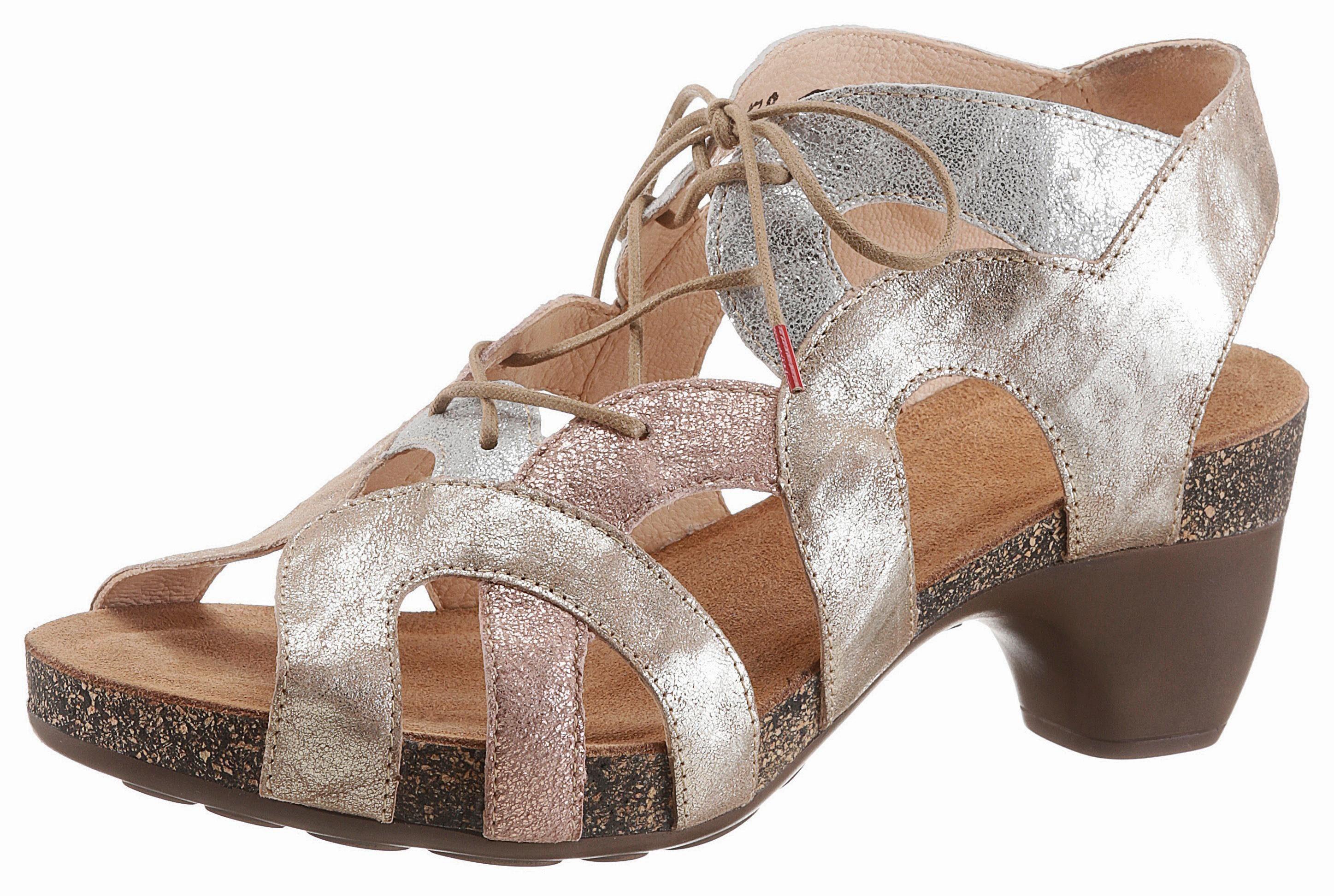 Think! Sandalette, Mit praktischer Schnürung  silberfarben