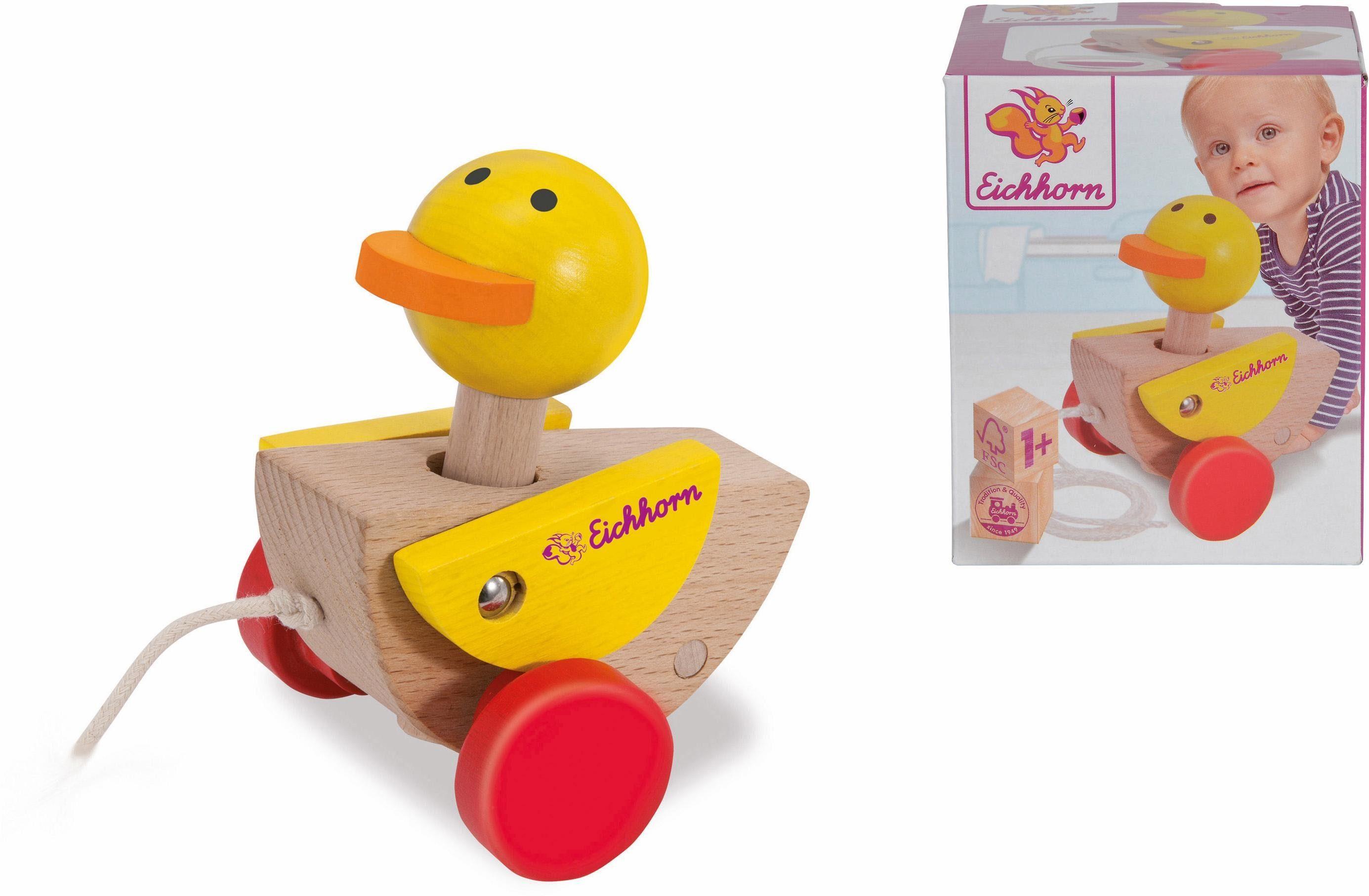 Eichhorn Nachziehspielzeug aus Holz, »Ente mit 2 Räderm«