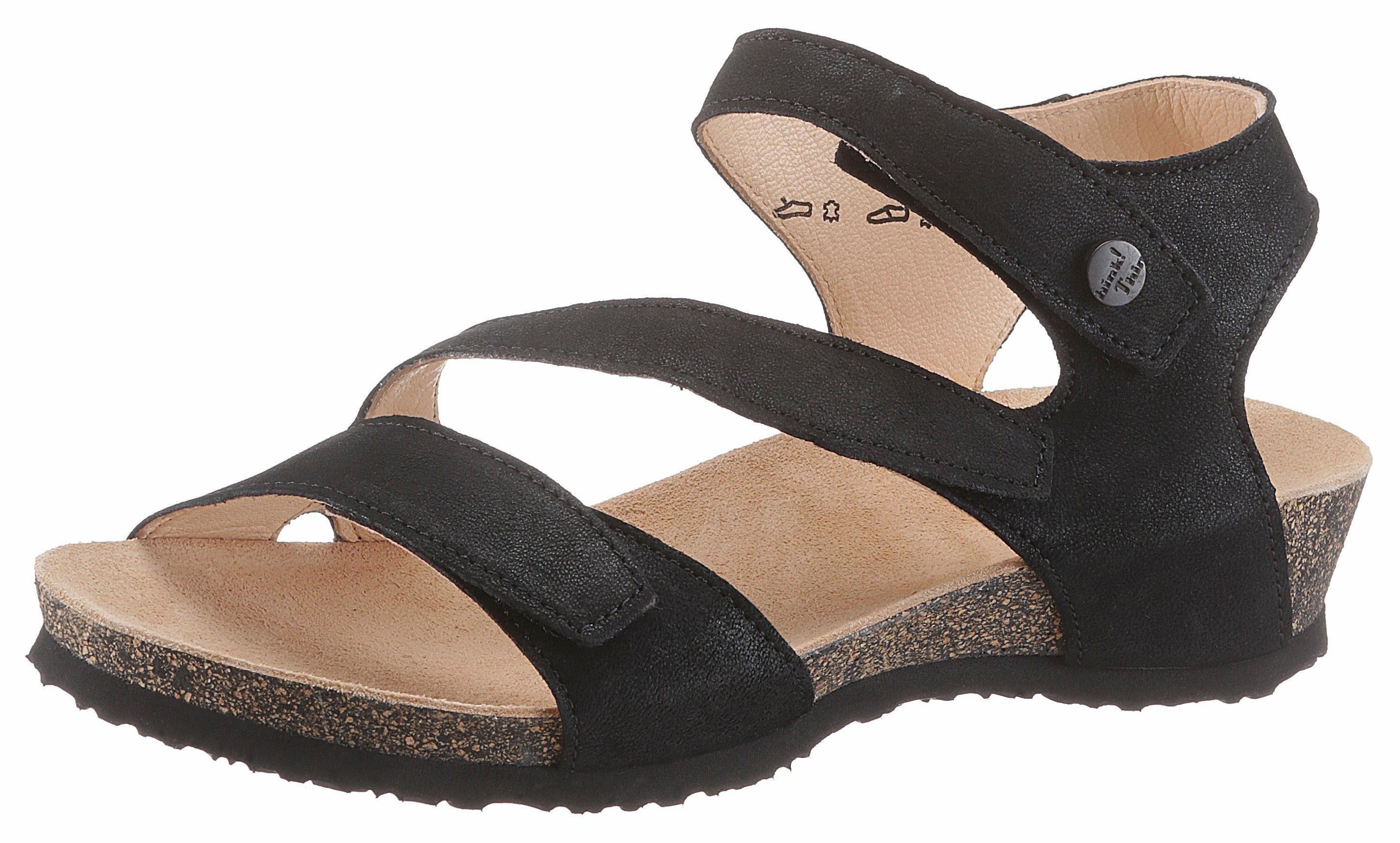 Think Sandalette, mit schönem Ledermuster, schwarz, schwarz