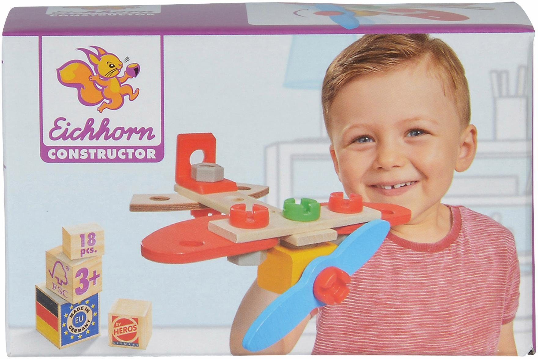 Eichhorn Konstruktionsspielzeug aus Holz, »Constructor, Flugzeug,. 18-tlg.«