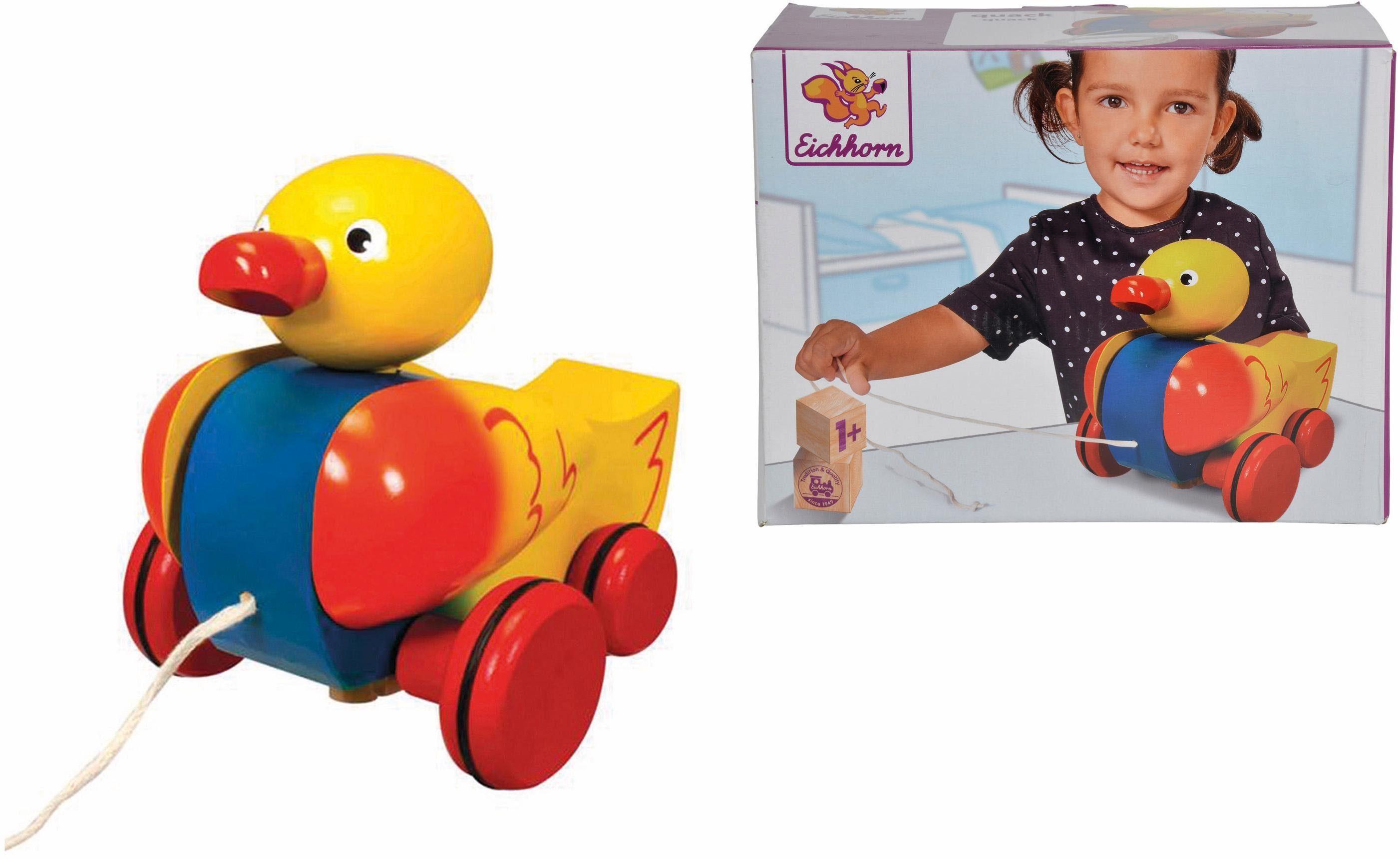 Eichhorn Nachziehspielzeug aus Holz, »Ente mit 4 Rädern«