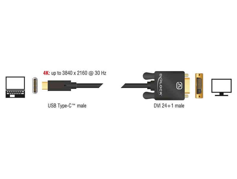 Delock »24+1 Stecker (DP Alt Mode) 4K 30 Hz« USB-Kabel, USB-C, USB Typ A, Thunderbolt, USB-C, USB Typ A, Thunderbolt (200 cm), Kabel USB Type-C™ Stecker