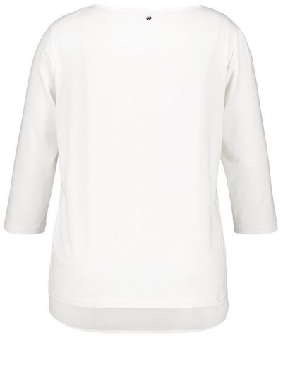 Samoon T-shirt Blouse À Encolure Ronde Et Manches 3/4 Avec Mélange De Matières