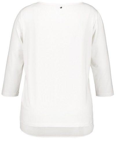 Samoon T-Shirt 3/4 Arm Rundhals Blusenshirt mit Material-Mix