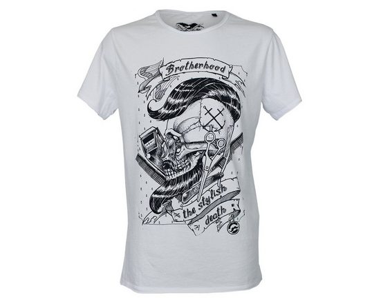 Brotherhood Bedrucktes T-Shirt mit Barbershop-Skull