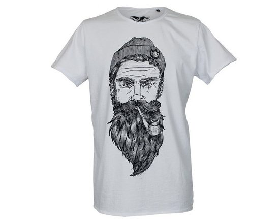 Brotherhood Printed T-shirt With A Bearded Mariner