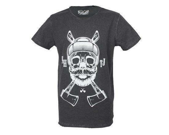 Brotherhood T-Shirt mit coolem Skull-Holzfäller-Druck
