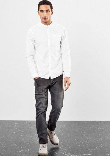 Q/S designed by Extra Slim: Hemd im Fischgrat-Design