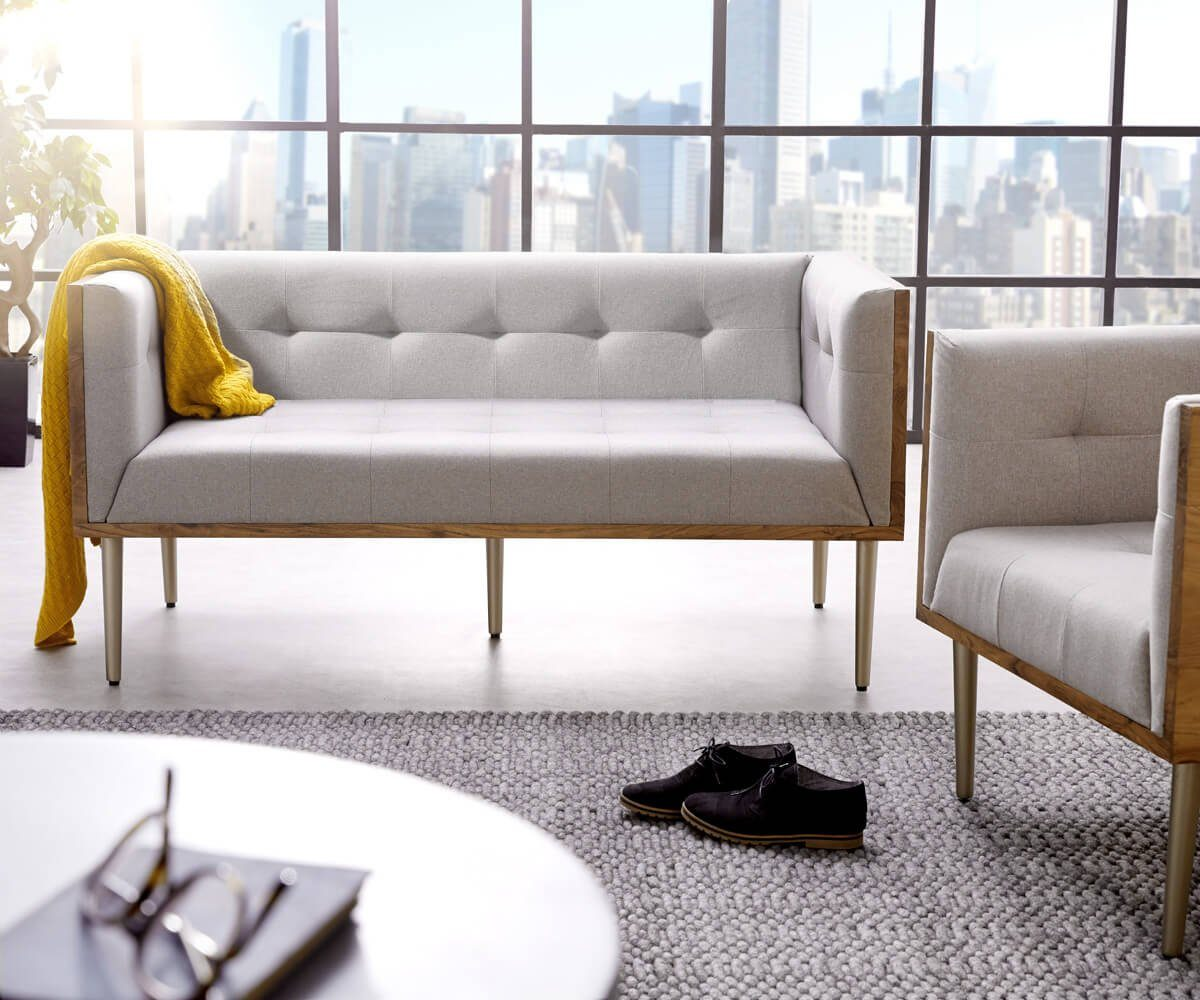 DELIFE Couch Metropolitan Grau 140x73 cm Akazie Natur