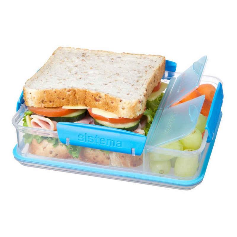 sistema Lunchbox »Brotdose mit Snackfach, transparent-blau«, Kunststoff Lebensmittelsicher