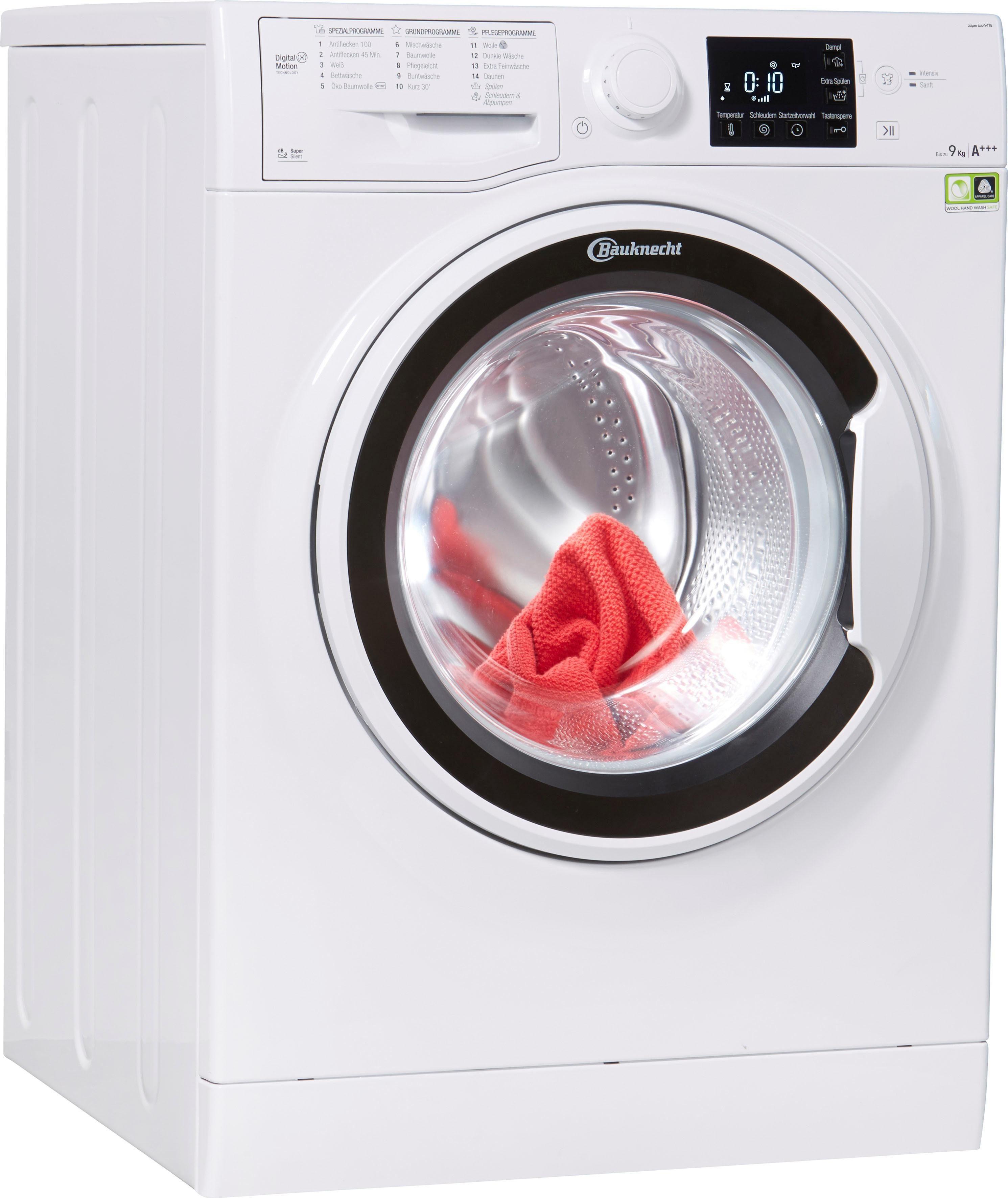 BAUKNECHT Waschmaschine Super Eco 9418, 9 kg, 1400 U/Min