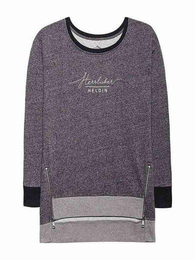 HERRLICHER Sweat-Pullover in melierter Optik mit Markenprint