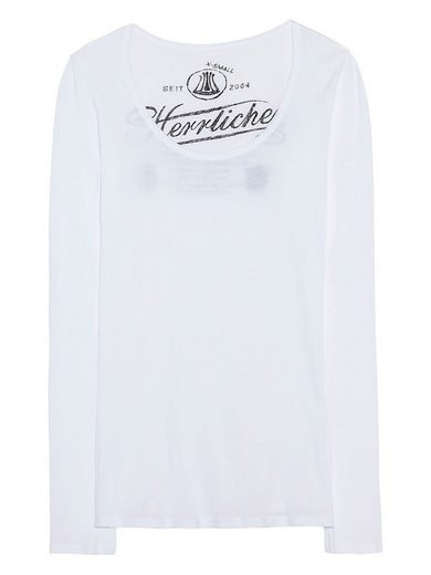 HERRLICHER Longsleeve mit durchscheinendem Logo-Print