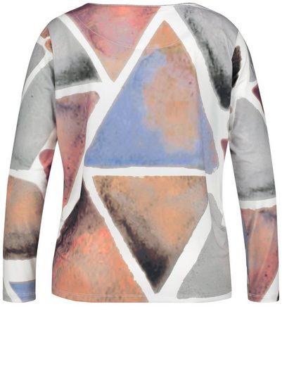 Samoon T-Shirt Langarm Rundhals Blusenshirt mit geometrischem Print