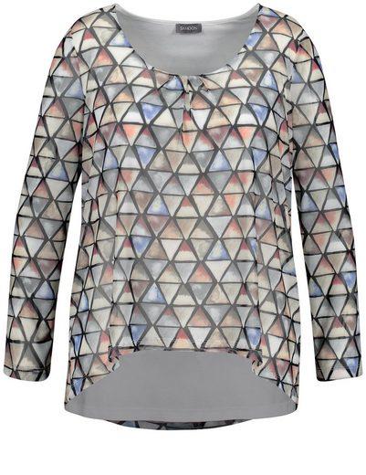 Samoon T-Shirt Langarm Rundhals Shirt im Layering-Look
