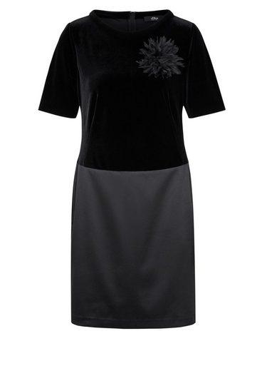 S.oliver Robe De Cocktail À Étiquette Noire En Velours Et Satin