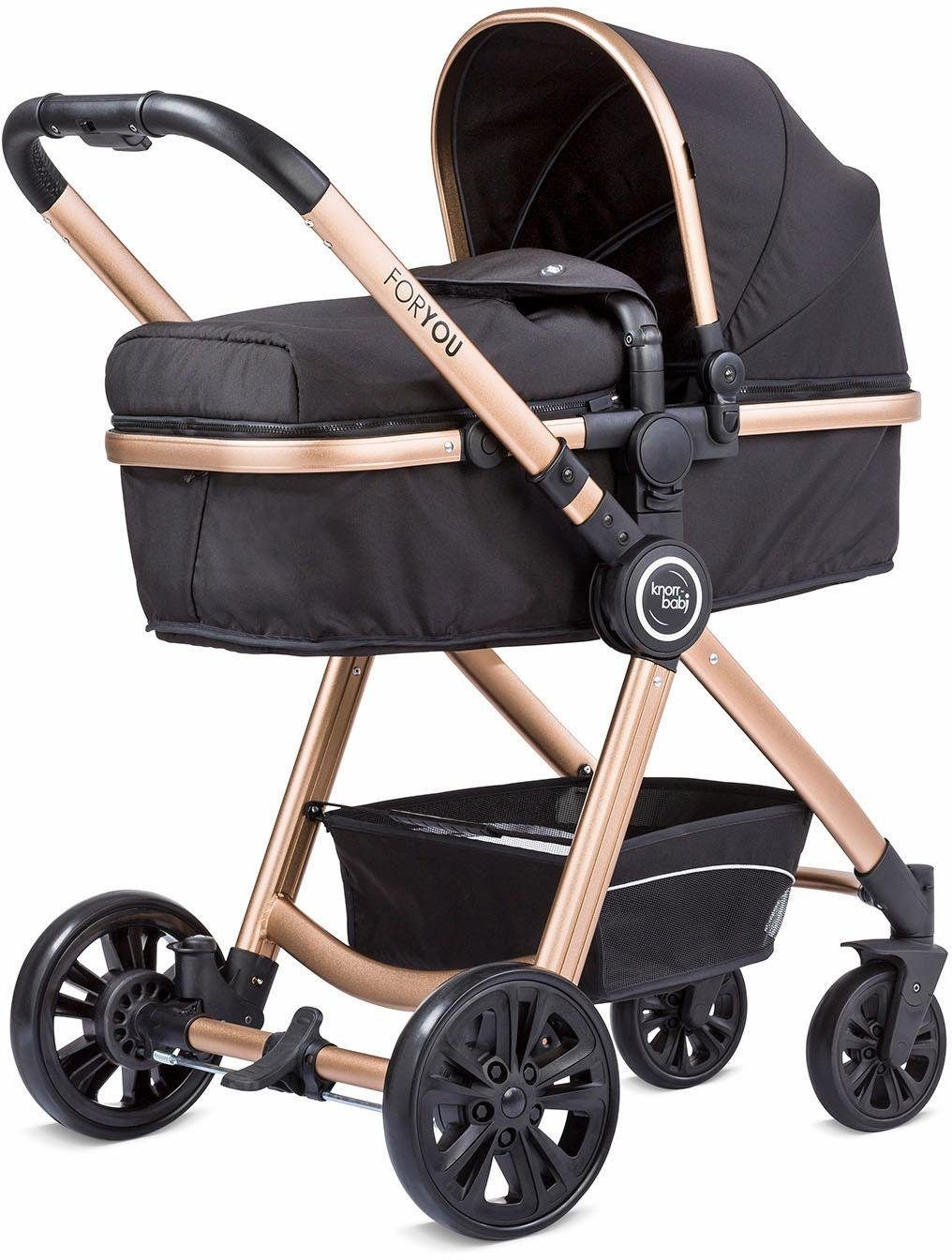 knorr-baby Kombi Kinderwagen, »For You, schwarz mit Gestell in gold«