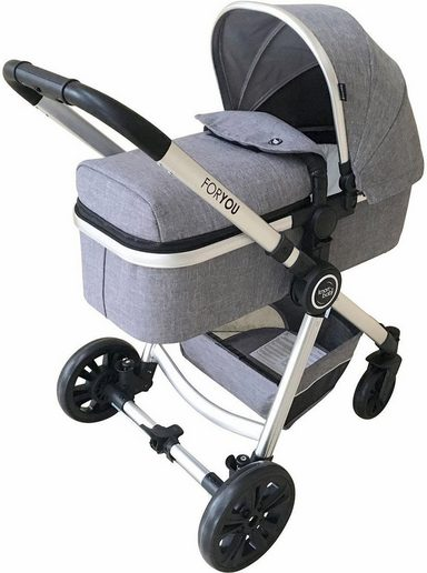 knorr baby kombi kinderwagen for you melange grau mit gestell in silber online kaufen otto. Black Bedroom Furniture Sets. Home Design Ideas
