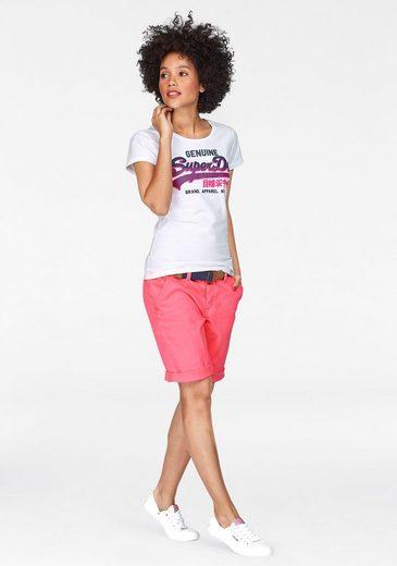Superdry T-Shirt VINTAGE LOGO GENUINE ENTRY TEE, mit neonfarbigem 3D Logo-Print