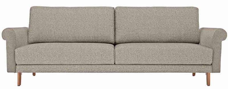 hülsta sofa 2-Sitzer »hs.450«, Armlehne Schnecke modern Landhaus, Breite 168 cm, Fuß Nussbaum, wahlweise Stoff oder Leder