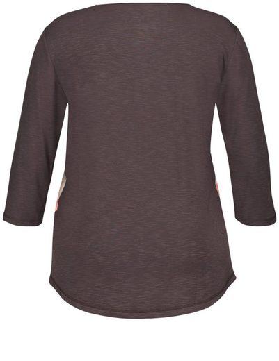Samoon T-Shirt 3/4 Arm Rundhals 3/4 Arm Shirt mit Front-Print
