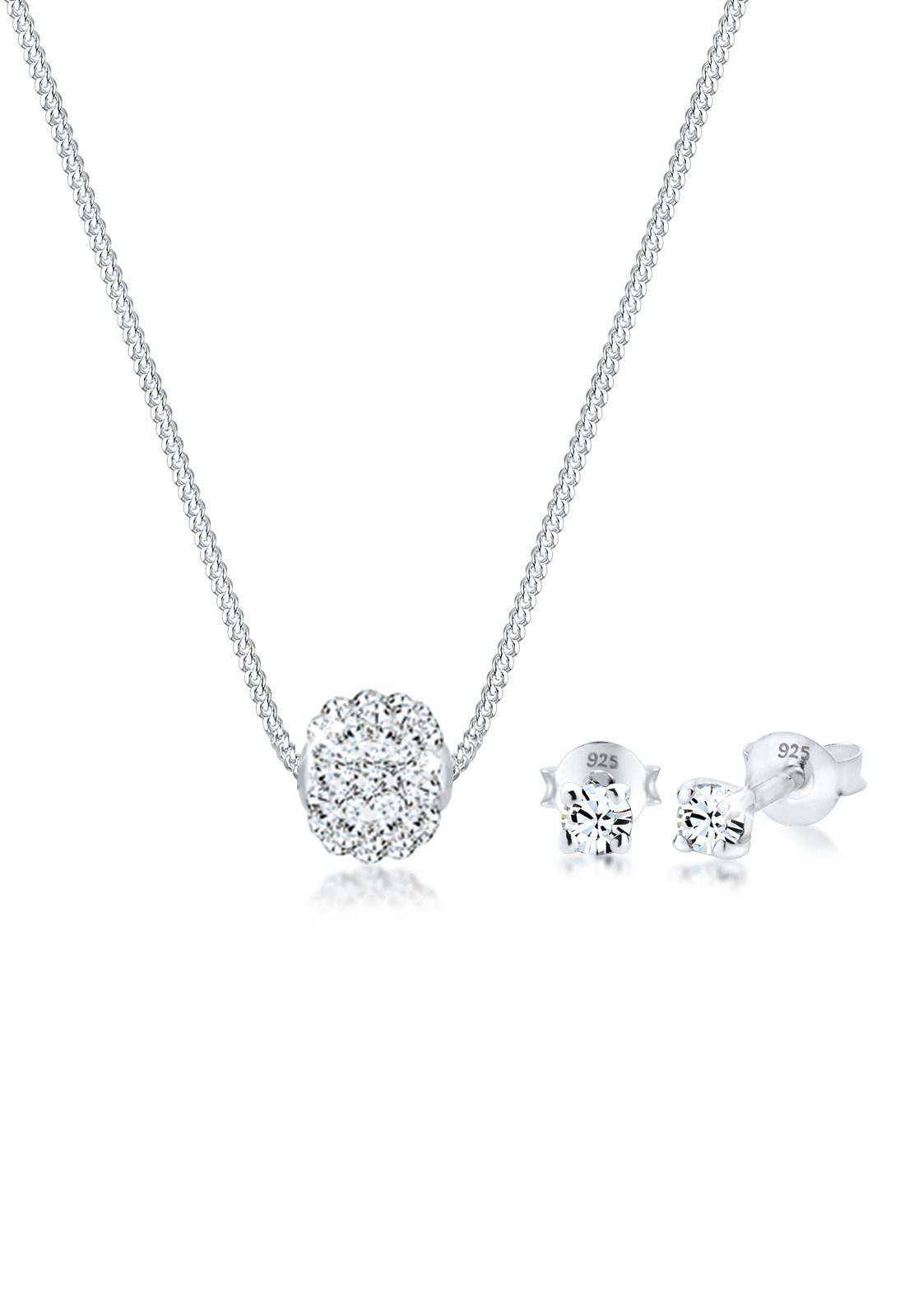 Elli Set: Schmuckset »Collier Kugel Swarovski® Kristalle 925 Silber« 2 tlg.