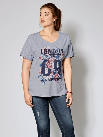 Angel of Style by Happy Size Shirt gestreift mit Frontprint