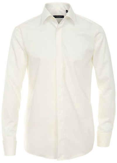 CASAMODA Hemd »Festliches Hochzeitshemd« (1-tlg) Langarm Kentkragen Uni Umschlagmanschette regular fit, ivory HL2, 42