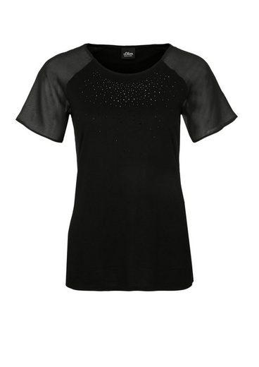 s.Oliver BLACK LABEL T-Shirt mit Chiffon-Detail