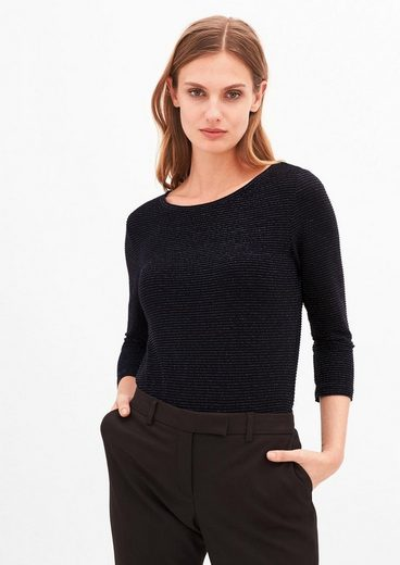 s.Oliver BLACK LABEL Glitzer-Shirt mit 3/4-Arm
