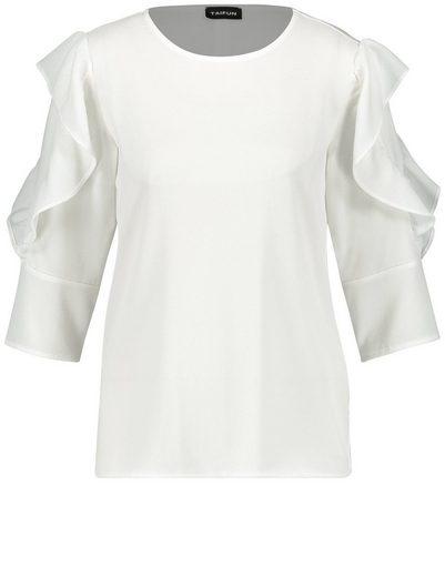 Taifun T-Shirt 3/4 Arm Rundhals Blusenshirt mit Volants
