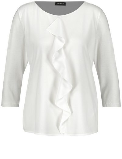 Typhoon T-shirt 3/4 Arm Around Neck Blouses Shirt With Volant