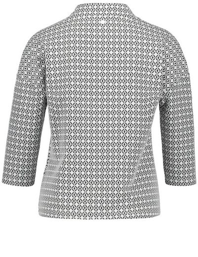 Taifun T-Shirt 3/4 Arm Rundhals Jacquard-Shirt mit Turtleneck