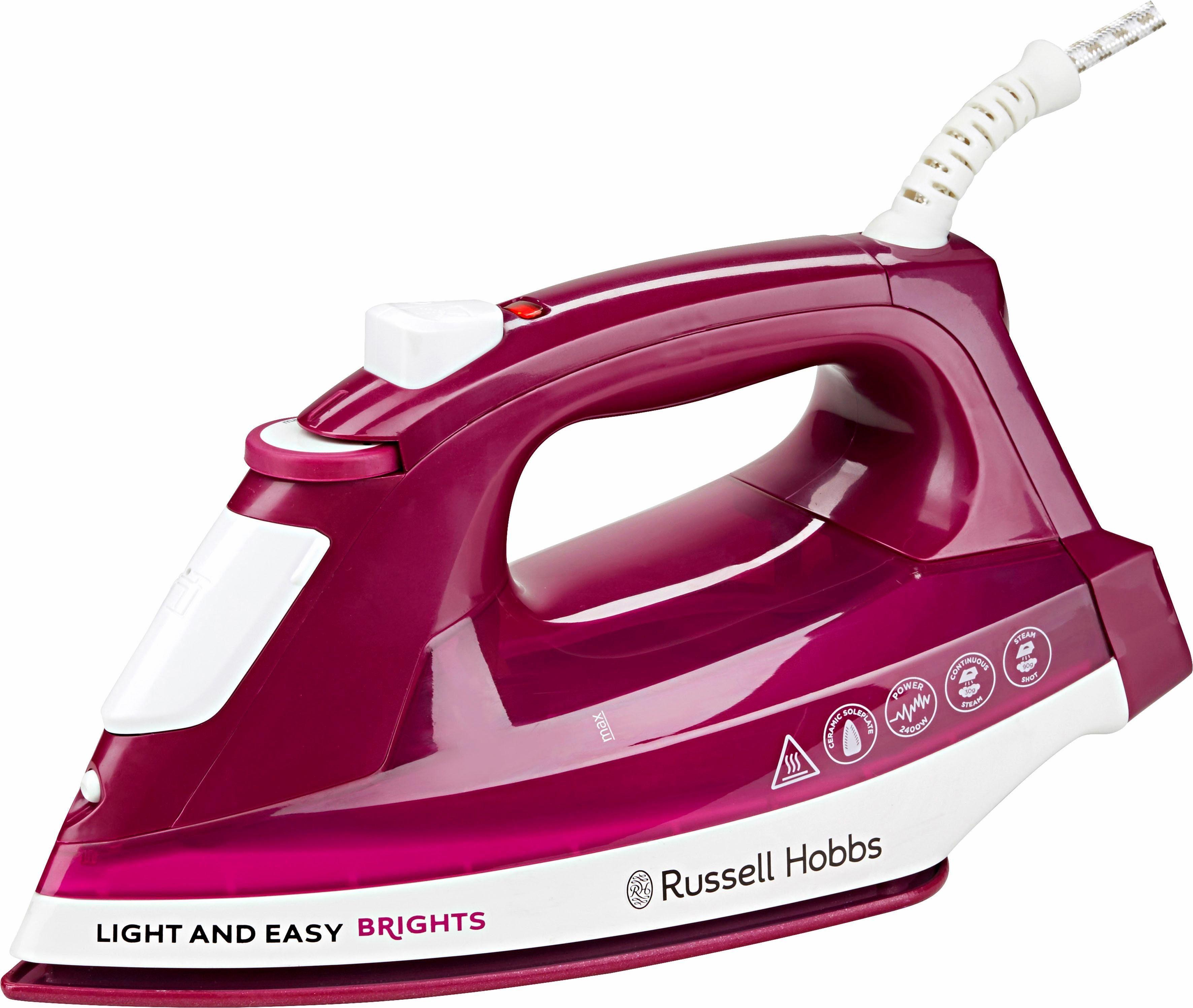 Russell Hobbs Dampfbügeleisen Light&Easy Brights 24820-56, Keramik-Bügelsohle, 2400 Watt, Mulberry