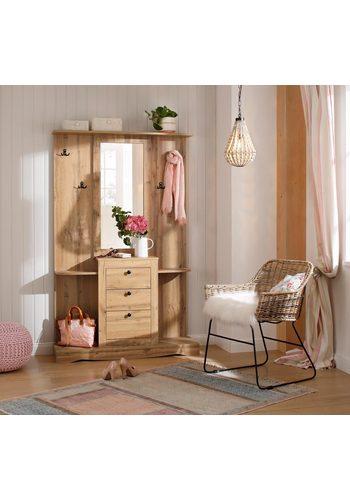 Home affaire Kompaktgarderobe Norma mit Spiegel und vielen Ablageflächen braun  